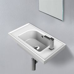 Space-saving white bathroom sink made from high quality ceramic. Contemporary style sink with wall mounted or drop-in mounting. Available in 1 hole application. Part of the CeraStyle Frame collection. Made in Turkey. Corner Sink Bathroom, Drop In Bathroom Sinks, Drop In Sink, White Bathroom, Bathroom Ideas, Wall Mounted Bathroom Sinks, Bathroom Fixtures, Floating Sink, Square Sink