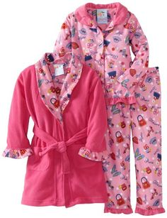Amazon.com: Baby Bunz Girls 2-6X Toddler Girl Cow Over The Moon 3 Piece Robe And Pajama Set: Clothing