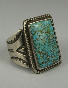 Early Navajo Number 8 Mine Turquoise Ring w Stamped Shank