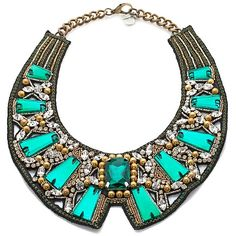 RK by Ranjana Khan Green Stone Beaded Collar Necklace