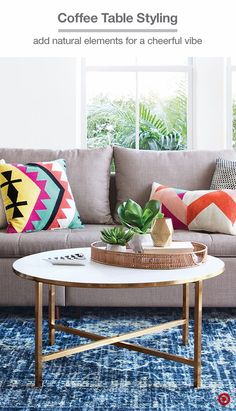 Mix and match textures in your living room for a personal take on modern style. A woven tray will warm up a marble coffee table and stylishly display personal pieces, plants, or geometric candle votives. Bonus: it's easy to move when entertaining.