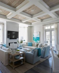Living Room With Rustic Coffered Ceiling Wood. The Coffers Are Hollow Boxes  Wrapped In Sheetrock, With A Big Crown Over The Pickled Pecky Cypress. ...