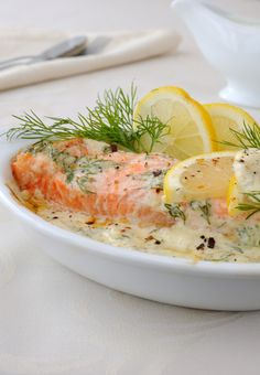 This sauce is so tasty. Serve it over salmon and garnish with lemon slices and dill weed, like in the picture, or have it with your favorite. Salmon Recipes, Fish Recipes, Seafood Recipes, Great Recipes, Dinner Recipes, Cooking Recipes, Favorite Recipes, Healthy Recipes, Fish Dishes