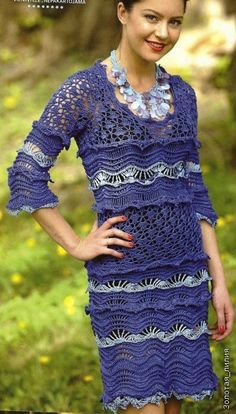 Ripple-me-dress with diagrams -Vestido de Crochet Azul II