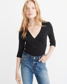 A&F Women's Wrap Front Top in