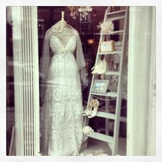 Beautiful window display at The White Closet (Manchester, UK) featuring the Claire Pettibone 'Minuet' wedding dress, Still Life Collection http://www.clairepettibone.com/minuet