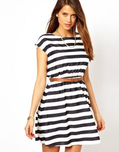 Rare Belted Stripe Dress