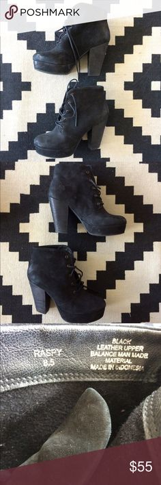 Steve Madden Leather Booties Women's size 8.5 real leather Steve Madden lace up booties, only worn two times. Super cute just not my style anymore Steve Madden Shoes Ankle Boots & Booties
