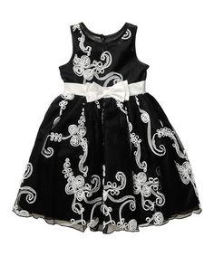 Look at this #zulilyfind! Black & White Floral Soutache A-Line Dress - Toddler & Girls #zulilyfinds