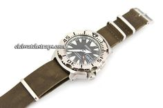 NATO Coffee Green Leather Watchstrap For Seiko Watches