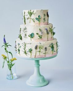 Oh my 💛💛 to this beautifully finished spring time botanical cake! Types Of Wedding Cakes, Big Wedding Cakes, Wedding Cake Stands, Beautiful Wedding Cakes, Cake Trends 2018, Cancer Free Party, Different Types Of Cakes, Fruit Wedding Cake, White Icing