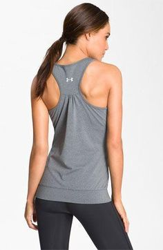 Under Armour 'Charm' Banded Tank  Love this to run in!! | Workout Clothes for Women | Tank Tops | Workout Shorts | Workout Pants | Gym Clothes @ http://www.FitnessGirlApparel.com