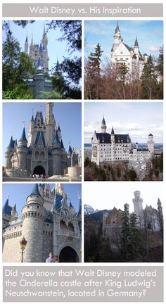 Ever wonder where Walt Disney got his inspiration for the Cinderella castle? It was from Neuschwanstein, located in Hohenschwangau, Germany at the foot of the Alps. All pictures were taken by me, on trips to Germany and Walt Disney World.