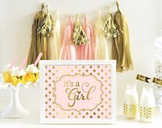 A Pink and Gold Baby Shower Sign is a must to complete your girly pink baby shower decor! Printed in real metallic gold foil - signs can be personalized Bridal Shower Signs, Baby Shower Signs, Baby Shower Favors, Shower Cake, Shower Party, Ballerina Baby Showers, Gold Baby Showers, Gold Nursery Decor, Nursery Décor