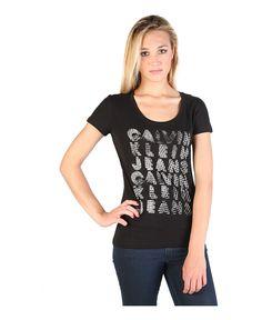 Calvin klein jeans - t-shirt donna, maniche corte - girocollo - 100% cotone - logo stampato - lavare 40°c - T-shirt donna Nero