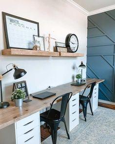 Home Office Setup, Home Office Space, Home Office Design, House Design, Kids Office, Office Inspo, Office Spaces, At Home Office Ideas, Ikea Home Office