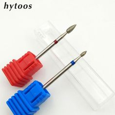 "HYTOOS 2 PCS Diamond Nail Drill Bit 3/32"" Rotary Burr Manicure Pedicure Tools Electric Nail Drill Accessories Nail Mill"
