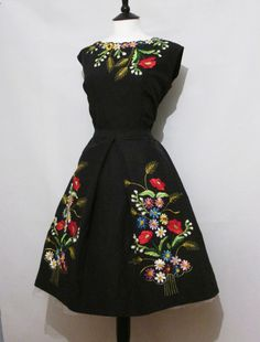 Original Vintage 50s Amazing Floral Embroidered Two Piece Dress Blouse Skirt 14