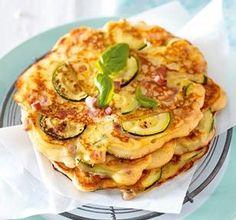 Zucchini-Pfannkuchen mit Schinken Rezept: Zucchini,Schinken,Basilikum,Butter,Mehl,Backpulver,Eier,Milch,Speisequark,Pfeffer,Muskat,Öl