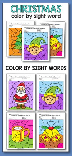 Kindergarten Morning Work December - Christmas Color By Sight Words is a fun and easy printable activity for kindergarten and preschool students. These color by code worksheets feature Christmas and winter pictures like: penguins, Santa, Rudolph, and more. #sightwords #morningwork #colorbysightword #kindergarten #fun #christmas #activities #earlyfinishers #activities #ideasconbotellas