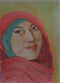 Feti Sumaryanti, Feti Xuyan, FetiXuyan16, Lukisan Wajah, Lukisan Wanita Berkerudung, Kerudung Merah, Pencil Drawing, Colored Pencil, Pensil Warna, Enjoying the process of drawing, the result.