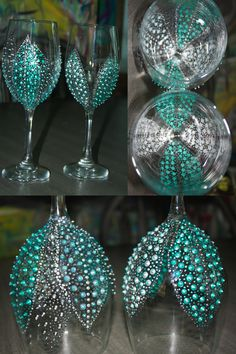 Hand Painted Wine Glasses Breakfast at by SteeleMagnoliaDesign