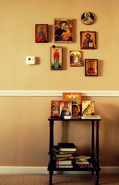An Orthodox Icon Corner from Close to Home. Love her website, great photographer and book author. Orthodox Prayers, Orthodox Christianity, Religious Icons, Religious Art, Prayer Corner, Home Altar, Pinterest Home, Home Icon, Prayer Room