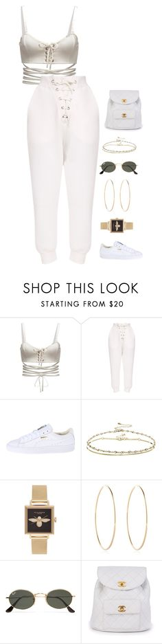 """Untitled #1480"" by streetyouth ❤ liked on Polyvore featuring Puma, ASOS, Olivia Burton, Maria Francesca Pepe, Ray-Ban and Chanel"