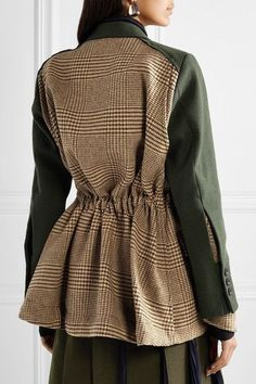 Sacai - Piqué and houndstooth wool blazer Blazer Outfits Casual, Blazer Fashion, Fashion Outfits, Womens Fashion, Dress Outfits, Fashion Details, Look Fashion, Autumn Fashion, Fashion Design