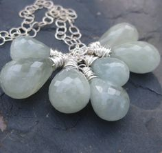 Milky aquamarine necklace sterling silver by seafairiesjewelbox, $158.00