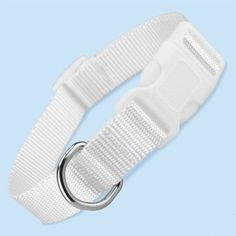 A white dog collar made of solid white nylon that is good for wedding DYI projects or white dogs. This white dog collar is a snap on buckle style, adjustable collar is good for dogs with white coats. Available in sizes x-small, small, medium, large, x-large