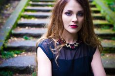 Thorn - Knitted Statement Necklace, Sculptural Chevron knit in Wine and Gold