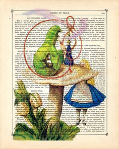 Alice and the Caterpillar, Alice in Wonderland Vintage Book Page