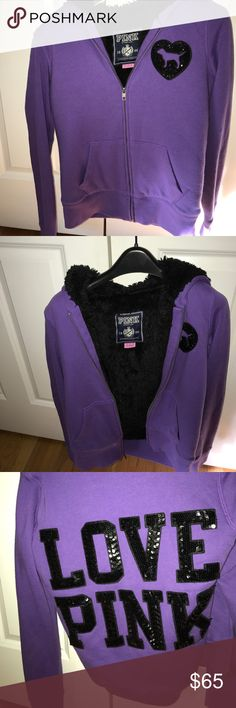 RARE Victoria's Secret fur lined sweatshirt Only worn very few times and in great condition. Beautiful purple sweatshirt with soft black fur lining. Price is firm this is one of my favorites and is hard to let go. Pet free and smoke free. Bought after the fashion show a couple years ago so is rare PINK Victoria's Secret Jackets & Coats