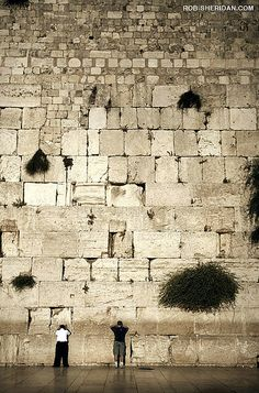 The Wailing Wall in Jerusalem, Israel. It is a remnant of the ancient wall that surrounded the Jewish Temple's courtyard, and is arguably the most sacred site recognized by the Jewish faith outside of the Temple Mount itself.