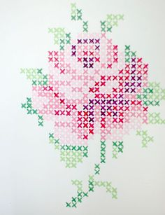 Cross stich rose mural from wunderschön-gemacht: vintage teatime. Do this with wall paint or with washi tape. Maybe not a rose (and I don't know what washi tape is, but This would be cool wall decoration. Rose Embroidery, Cross Stitch Embroidery, Embroidery Patterns, Cross Stitch Patterns, Cross Stitch Rose, Cross Stitch Flowers, Tape Wall Art, Beading Patterns, Crochet Patterns