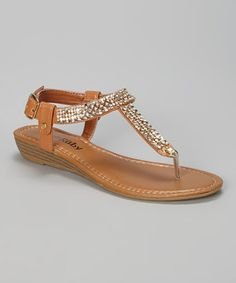 Another great find on #zulily! Ruby Shoes Tan Rhinestone Lola Sandal by Ruby Shoes #zulilyfinds