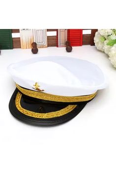 6eba1350f89 Buy Yacht Captain Skipper Sailor Boat Marine Anchor Cap Navy Hat Costume  Party Dress online at