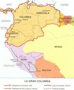 Republic of Gran Colombia South American Art, American History, Historical Maps, Historical Pictures, Alternate History, City Maps, Latin America, World History, Granada