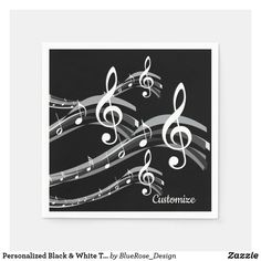 Personalized Black & White Treble Clef Napkins Holiday Cards, Christmas Cards, Treble Clef, Ecru Color, Cocktail Napkins, Paper Napkins, Christmas Card Holders, Hand Sanitizer, Keep It Cleaner