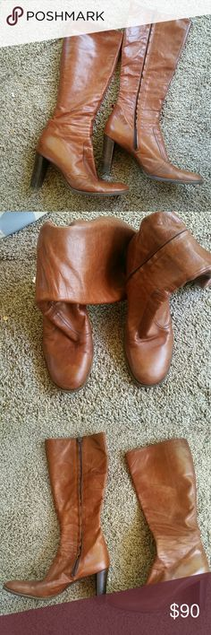 """Enrico Antinori leather boots Are you ready for fall? Buttery cognac leather Enrico Antinori boots size 39.5. Leather has aged beautifully with tons of wear left.  3.75"""" heel. Heel to top of shaft is 14"""". Laid flat shaft is 6.5"""" at widest point. Could use some leather polish or conditioner, but truly a beautiful tall boot. Enrico Antinori Shoes Heeled Boots"""