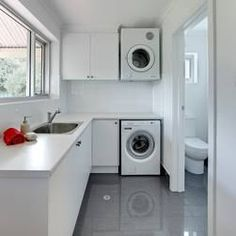 The Beautiful Laundry Room Ideas To Inspire You. Browse laundry and utility room ideas, with inspiration for organising your washing machine, tumble dryers, laundry baskets, iron and ironing board in your utility. Laundry Bathroom Combo, Toilet And Bathroom Design, Small Bathroom, Bathroom Designs, Bathroom Mirrors, Bathroom Ideas, Laundry Room Remodel, Basement Laundry, Laundry Room Storage