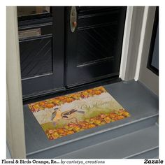 Floral & Birds Orange, Red, Yellow, Green Custom Doormat American Falls, Natural Form Art, Personalized Door Mats, Traditional Decor, Doormat, Vincent Van Gogh, Floor Mats, Vintage Shops, Fall Decor
