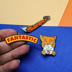 Fantastic Fox, Fantastic Enamel Pin, Screen Printed Pin, Pins and Button Back Badges, Patches, Custom Pin, Wes Enamel, Dapper, Accessories