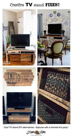Come be blown away by these creative TV stand fixes! Features galore with a themed link party via http://www.funkyjunkinteriors.net/