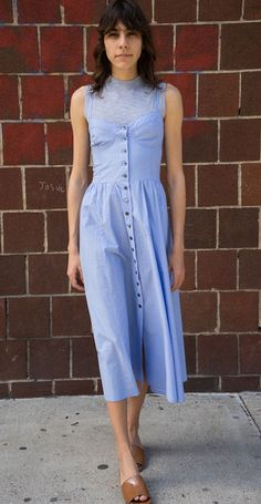 Maryam Nassir Zadeh Blue Paper Carnelia Dress & Light Blue Cropped Canaria Shell