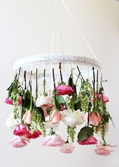 Amp up your party decor with a DIY hanging flower chandelier.