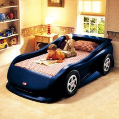 Little Tikes Sports Car Twin Bed, Medium Blue.. If i have a little boy one day he is TOTALLY getting one of these beds!