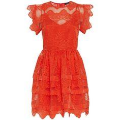 Marissa Webb Kallisti Lace Mini Dress (655 CAD) ❤ liked on Polyvore featuring dresses, orange, red short sleeve dress, lace dress, orange mini dress, short-sleeve dresses and short sleeve mini dress