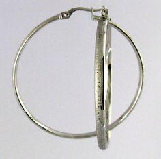 5416711359b Hoop Earrings 10k Solid white Gold 3.5 mm Diameter
